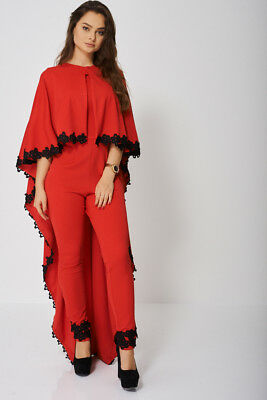 Women Jumpsuit and Cape Set In Red