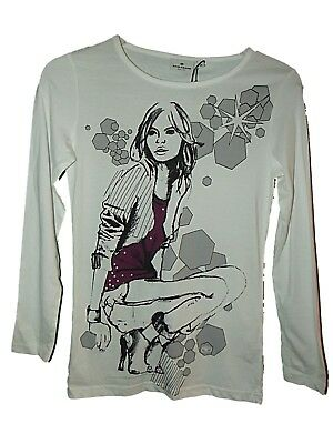 NEW GIRLS DESIGNER TOM TAILOR Long Sleeved GRAPHIC T-SHIRT Sz 152cm Age 12 years