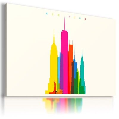 New York City Abstract Modern Canvas Wall Art Picture Large Sizes Az114 X Mataga