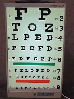 Tested Working Tech-Med Eye Test Cabinet 3060 W/ 3061 & 3065 Test Cards