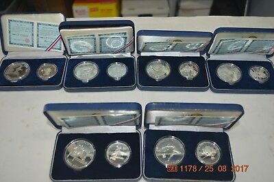 6 sets of 1988 Korean Olympic coins with COA's