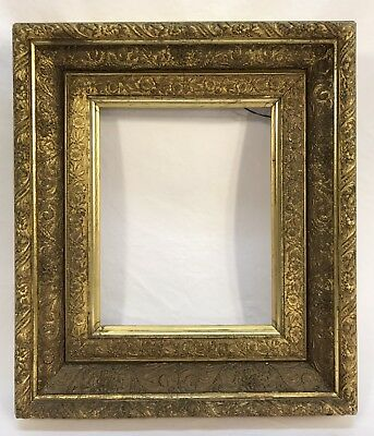 Antique Victorian Late 19th C Ornate Gold Frame 8 x 10 Opening
