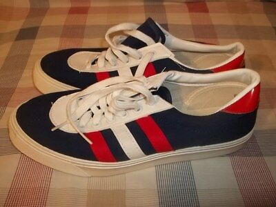 Vtg Unworn Made In USA Red White Blue 3 STRIPE SNEAKERS TENNIS SHOES Men's 6.5?