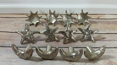 Lot of 12 Sun Moon & Stars Silver Metal Drawer Knob Pulls Made in India - 4 Each
