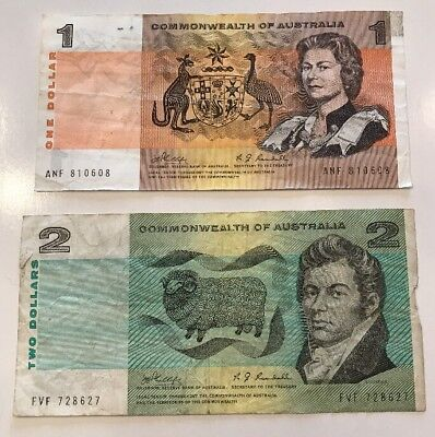 Lot Of 2 Banknotes Commonwealth Of Australia $1/ $2 Circulated