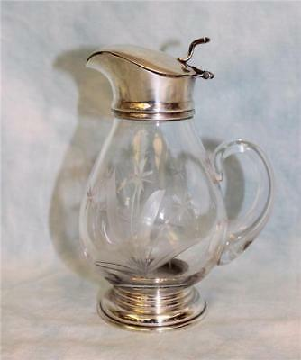 "5"" Etched glass syrup pitcher or Sauce picture with Sterling Base & top Ca.1910"