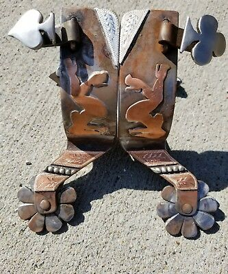 Handmade Silver Double Mounted Cowboy Spurs, Maker Marked, Super Punchy