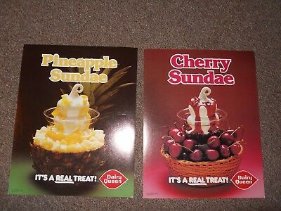 Dairy Queen Promotional Poster Pineapple Sundae and Cherry Sundae 11X 14 inches