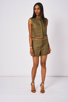Khaki Playsuit Ex-Branded Available In Plus Sizes
