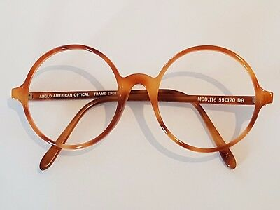 ANGLO AMERICAN OPTICAL Round Eyeglasses 55/20 Tortoise in good condition