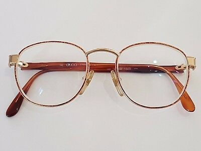 GUCCI Eyeglasses 49-19 Gold Frame made in Italy