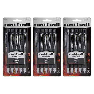 Uni-Ball Signo 207 Gel Retractable Roller Ball Pen, Micro, Black Ink, 15-Count