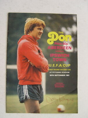 Aberdeen v Ipswich Town 1981/82 UEFA Cup autographed by Doug Rouvie