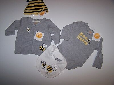 Nwt Gymboree Brand New Baby 0-3 Lot Bee Collection 4 Pc Set Unisex Ret. $57
