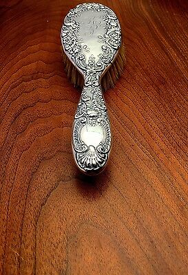 Gorham Mfg. Co. American Sterling Silver Hairbrush Rococo Floral Pattern 1899