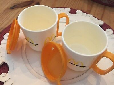 Vintage McDonalds Whirley Travel Mugs Plastic Coffee Cup Orange and White