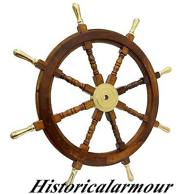 "36""Beach Wooden Boat Ship Steering Wheel Fishing Net Home Wall Nautical Decor-HA"