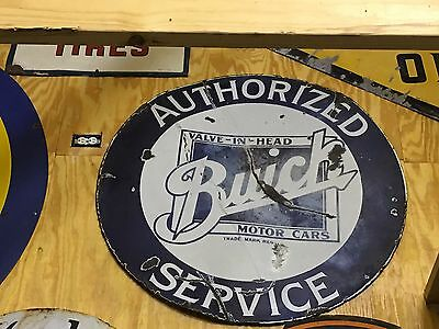 "OriGiNaL 42"" BUICK AUTHORIZED SERVICE VALVE-IN-HEAD Dealer PORCELAIN Sign OLD"