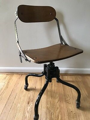 Antique Industrial / Steampunk Style Rolling Desk Chair Wood & Metal - Free Ship