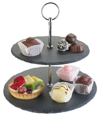 2 Tier Natural Slate Cake Stand Afternoon Tea Wedding Plates Party Tableware