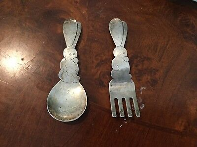 STERLING SILVER Top Quality Hand Hammered Allan Adler Baby Spoon and Fork