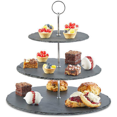 3 Tier Natural Slate Cake Stand Afternoon Tea Wedding Party Tableware Mother Day