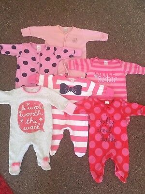 Baby Girls NEXT Newborn First Size New Baby Sleepsuit / Babygrow Bundle. Pink