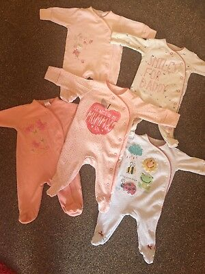 Baby Girls NEXT Newborn Sleepsuit / Babygrow Bundle. Upto 1 Month. First size.