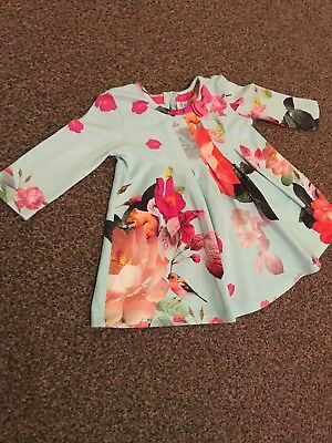 Ted Baker Baby Girls 0-3 Month Dress / Top. Blue & Pink Floral. Long sleeve.