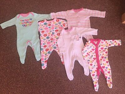 Baby Girls Newborn Sleepsuit / Babygrow Bundle. Colourful Fishes & Hearts