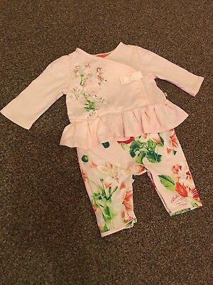Ted Baker Baby Girls 0-3 Month Outfit / Sleepsuit / Top / Romper. Floral, Pink.