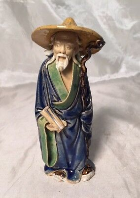 "Rare Antique 4"" Chinese Shiwan Clay Old Mudman Scroll & Staff Figurine Statue"