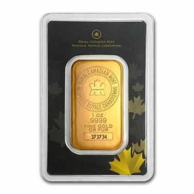 1 oz Gold Royal Canadian Mint (RCM) Bar - .9999 in Assay