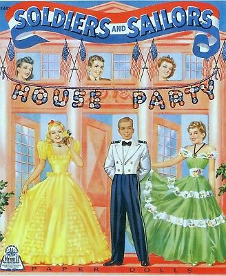 Vintage 1940 Soldiers Sailors House Party Paper Doll  Laser Reproduction~Uncut