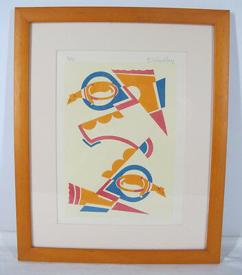 Pencil Signed Serge Gladky ART DECO LE Abstract Rat Design Pochoir Print #2 yqz