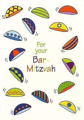 """One Greeting Card """" For Your Bar Mitzvah """" Kippah Different Design & Colors"""