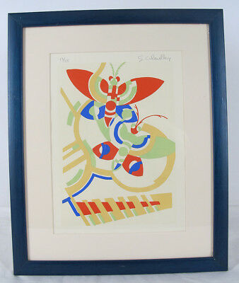 Pencil Signed Serge Gladky ART DECO LE Abstract Moth Design Pochoir Print #3 yqz