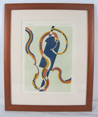 Pencil Signed Serge Gladky ART DECO LE Abstract Snake Design Pochoir Print 4 yqz