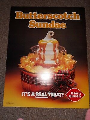 Vintage  1980 dairy Queen Poster butterscotch  22 inches by 28 inches. excellent