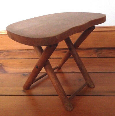 """Vintage 1950s NEVCO Small Solid Maple Wood Folding Travel Foot Stool 9.5"""" Tall"""