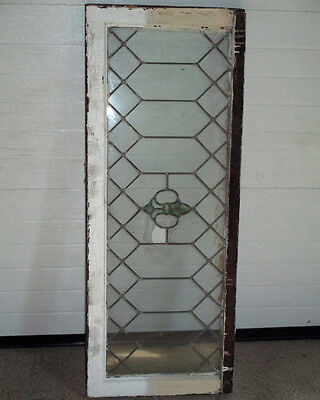 "Leaded Stained Glass Transom Window Wood Frame 44 1/4"" x 17 1/4"" Antique Vintage"