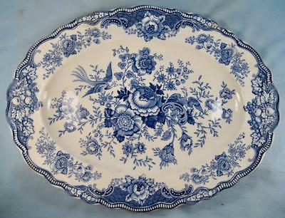 Bristol Blue 13 In Oval Serving Platter Crown Ducal Made In England (O) AS IS #2