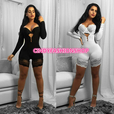 USA Women Sexy Lace Tight Jumpsuit Long Sleeve Play suit Casual Elastic Rompers