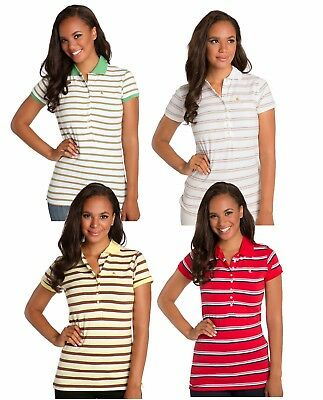 4650b92681 Sweet Vibes Junior Womens Polo Shirts Stretch Jersey Short Sleeve Multi  Stripes