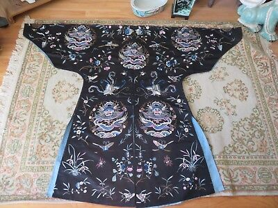 Unusual Chinese Embroidered Robe Unique Design Bats Insects Dragon Flowers Old!
