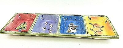 Sango Sweet Shoppe Christmas 4-Part RELISH TRAY Serving Dish by Sue Zipkin