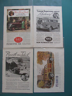 1933 & 1950 Original Vintage 4 Different Plymouth Automobile Print ADs