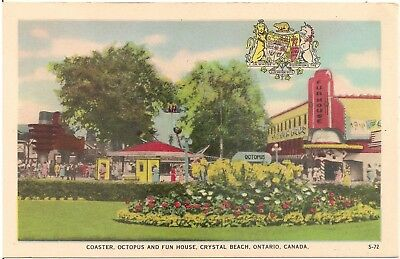 Coaster, Octopus and Fun House at Crystal Beach in Ontario Canada Postcard