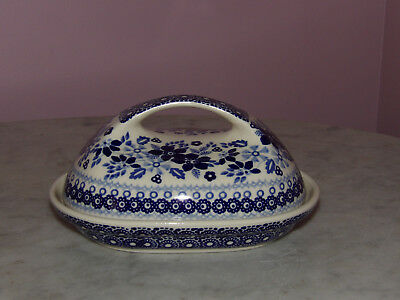 Genuine UNIKAT Polish Pottery Fancy Butter Dish! Rembrandt in Blue Pattern!