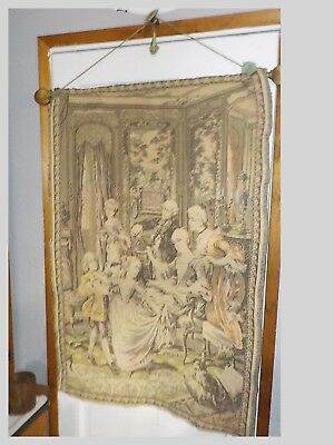 """Antique Hand Woven French Tapestry Signed-Stevaert 41 X 28"""" On Hanging Frame"""